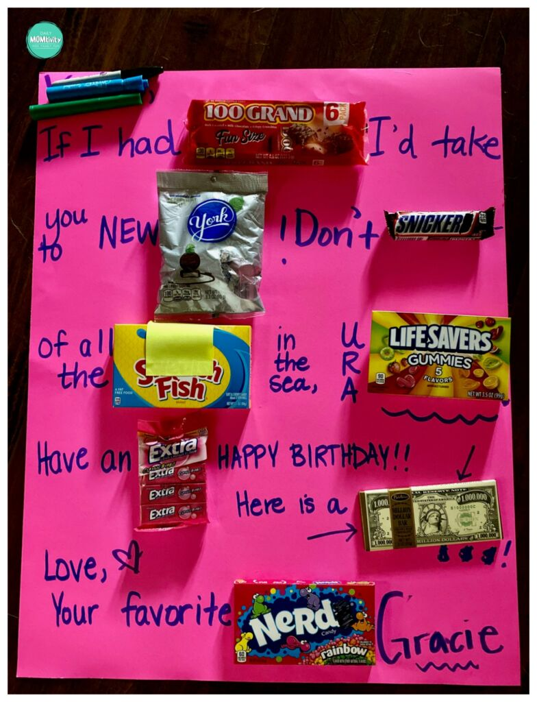Candy gram birthday card! Much better than a paper card and everything can be found at the $1 store!