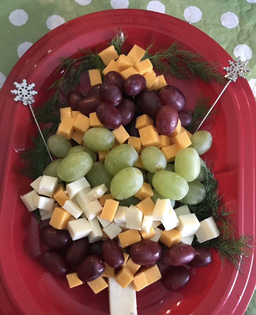Make this cheese and fruit Christmas tree for your holiday party or for Christmas Day morning to munch on. Simply cut the fruit and cheese and begin to assemble as a tree! Add some toothpicks or skewers so people can easily pick up.