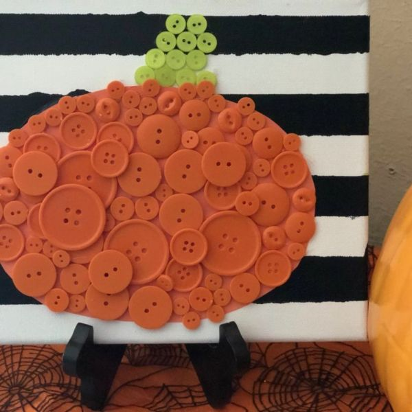 Button Pumpkin Craft {Perfect Halloween Simple Craft}