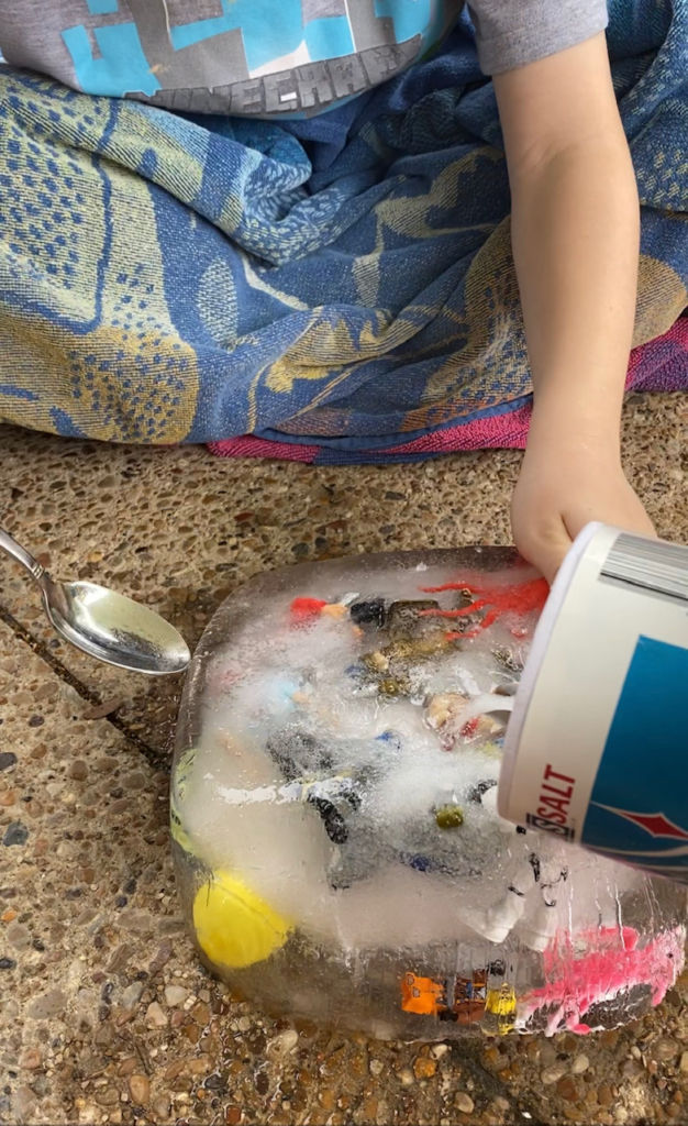 Ice Melt Experiment, A fun Science Activity for Kids to do and learn!