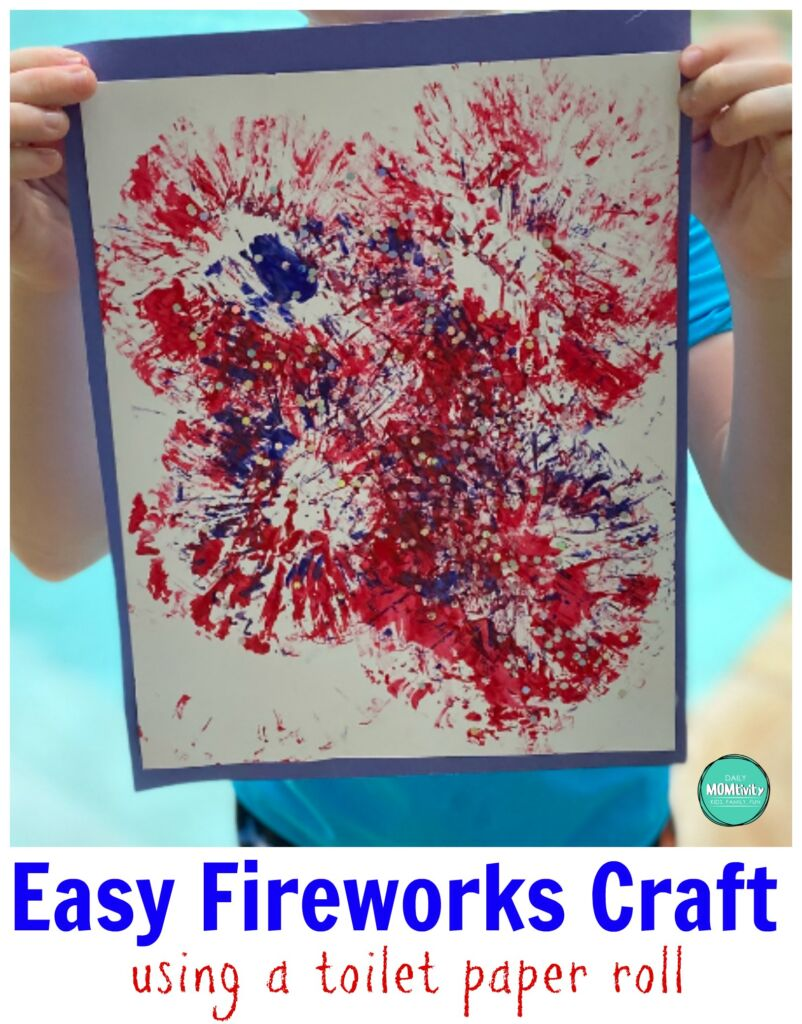 Super easy and fun Toilet Paper Roll Fireworks Craft for the Kids to Make! All you need is paint and 1 empty toilet paper roll! #toiletpapercraft