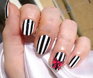 Black And White Stripes With A Bow Tie Dailynailart Jpg