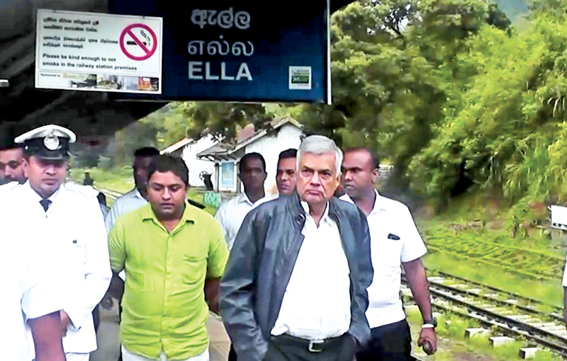 Prime Minister Ranil Wickrmesinghe visiting the Ella Railway Station during his inspection tour in the Uva Province.