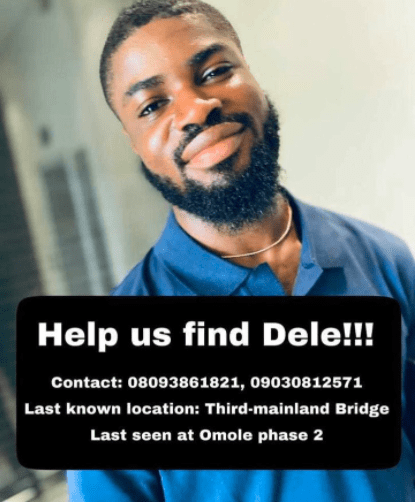 Nigerian man, Dele who was declared missing days ago is 'found dead'… 'suicide' fingered