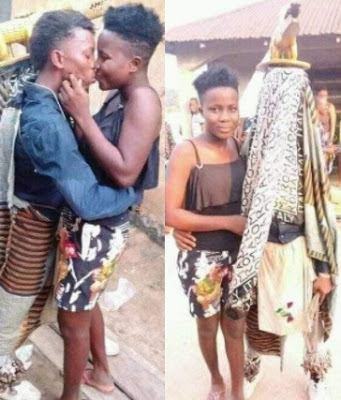 """Man dressed in """"Egungun"""" outfit stops performance to kiss his girlfriend [photos]"""