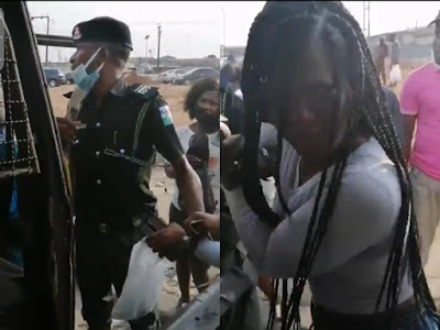 Police allegedly harass lady for discussing police brutality at the Lekki tollgate protest in a public bus