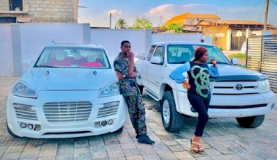 Actor Adedimeji Lateef and Actress Adebimpe Oyebade show off their new whips