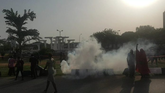 BBOG group being teargassed by the Nigerian police during their protest at Unity Fountain, Abuja
