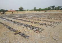 The illegal arms displayed before destruction in Gusau, Zamfara State capital, on Monday, May 14, 2018