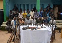 Parade of suspected vicious and notorious kidnap for ransom/armed robbery gangs responsible for several killings, kidnaps, car snatching/armed robbery of innocent members of the public on the highways, villages and towns on Abuja-Kduna-Birnin Gwari-Funtua- Zamfara State by acting DCP Jimoh Moshood Force Public Relations Officer, at Tafa Kagarko LGA Kaduna State September 3, 2018.