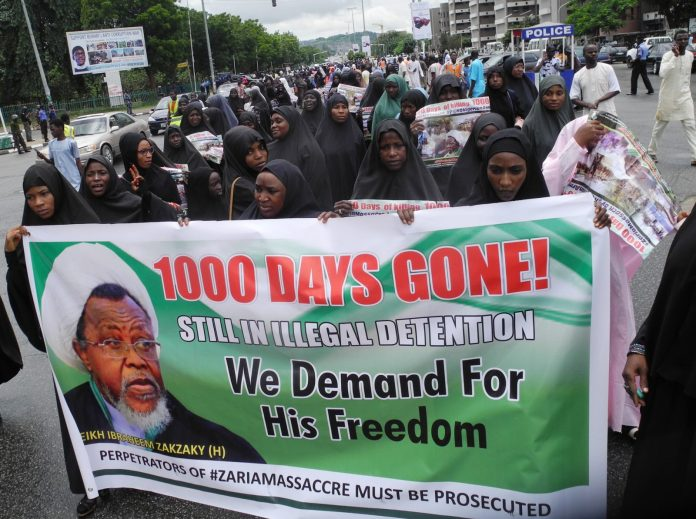 "Some members of the Islamic Movement in Nigeria protesting alleged ""1000 days of detention of Sheikh Ibraheem Zakzaky and wife"", in Abuja on Friday September 7, 2018 PHOTO: Jones Bamidele/NAN/DAILY NIGERIAN"