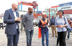 R-L: The Managing Director, Nigerian Ports Authority (NPA), Hadiza Bala Usman, the Port Manager, Lagos Ports Complex (LPC), Olufunmilayo Olotu, GM External Affairs APM Terminal, Odibe Daniel, Regional Head, Middle East and Africa, David Skov during a working visit to the Terminal in Apapa.