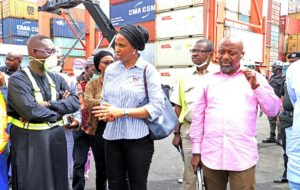 The Managing Director, Nigerian Ports Authority (NPA), Hadiza Bala Usman (Middle), the Executive Director, Marine & Operations, NPA, Onari Brown (right), the Group Executive Vice Chairman, SIFAX Group, Dr. Taiwo Afolabi (left) during a working visit to the terminal in Tin Can Island Port in Lagos.