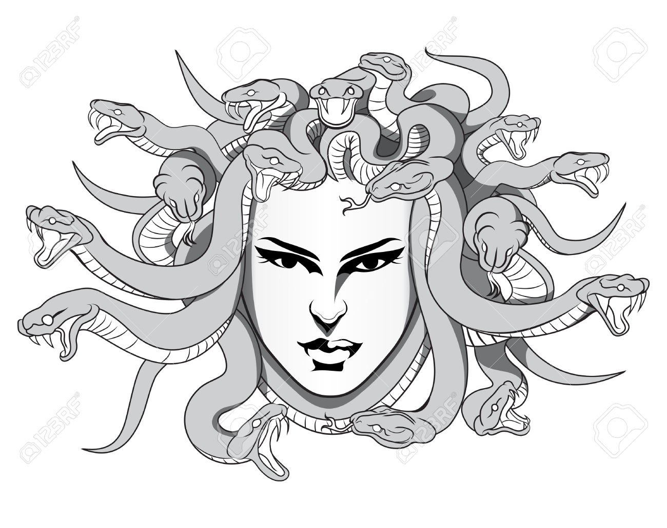 29670287-medusa-with-poison-snakes--Stock-Vector-medusa-greek-tattoo
