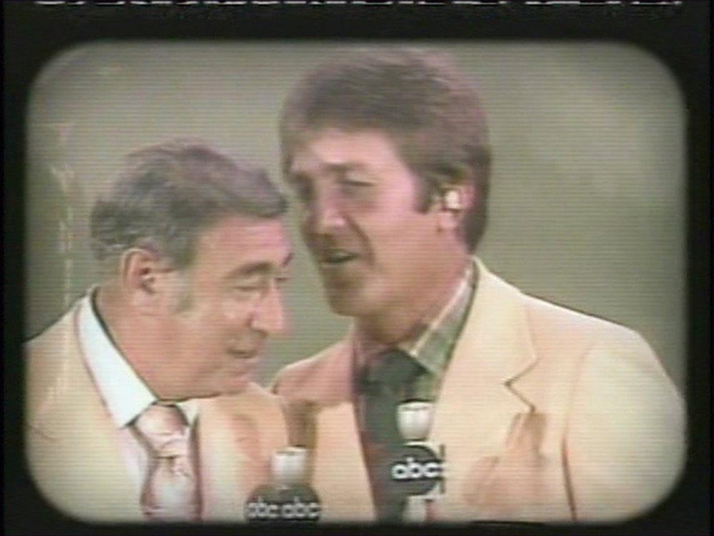 Frame grab of Howard Cosell and Don Meredith (right) on ABC's Monday Night Football. Monday December 26, 2005 is the final ABC Monday Night Football game between the New York Jets and the New England Patriots. Monday Night Football moves to ESPN next year. photo via ABC