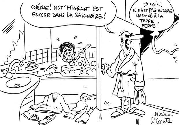 un migrant dans la baignoire dailynord