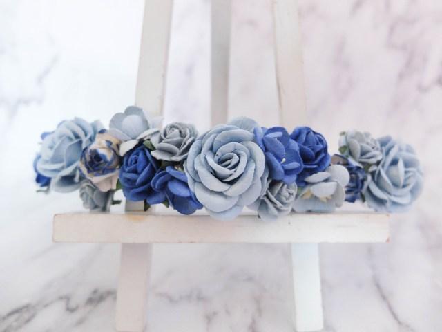 flower crown - royal blue & blue - wedding hair accessories - floral head wreath
