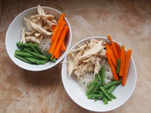 Noodles, veg and chicken...