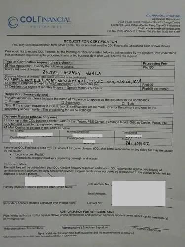 request stock certificate visa application purpose