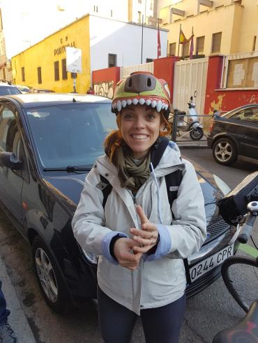 Photo of me and my bike helmet by Donncha Ó Caoimh
