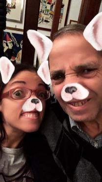Father and I selfie wearing hungry rabbits Instagram filter (because we were starving!)
