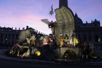 St Peter's square Presepe in Vatican City. You may want to notice the amazing #skyporn situation in the background