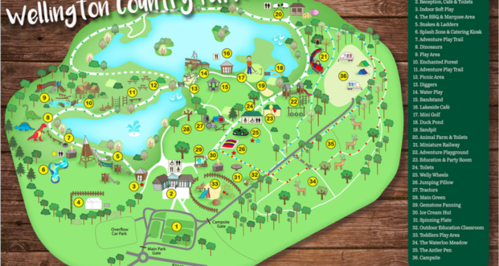 wellington country park map, adventure park map, dinosaurs park map
