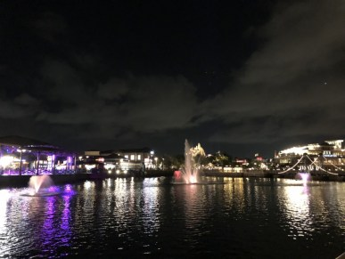 Disney Springs overview from the lake