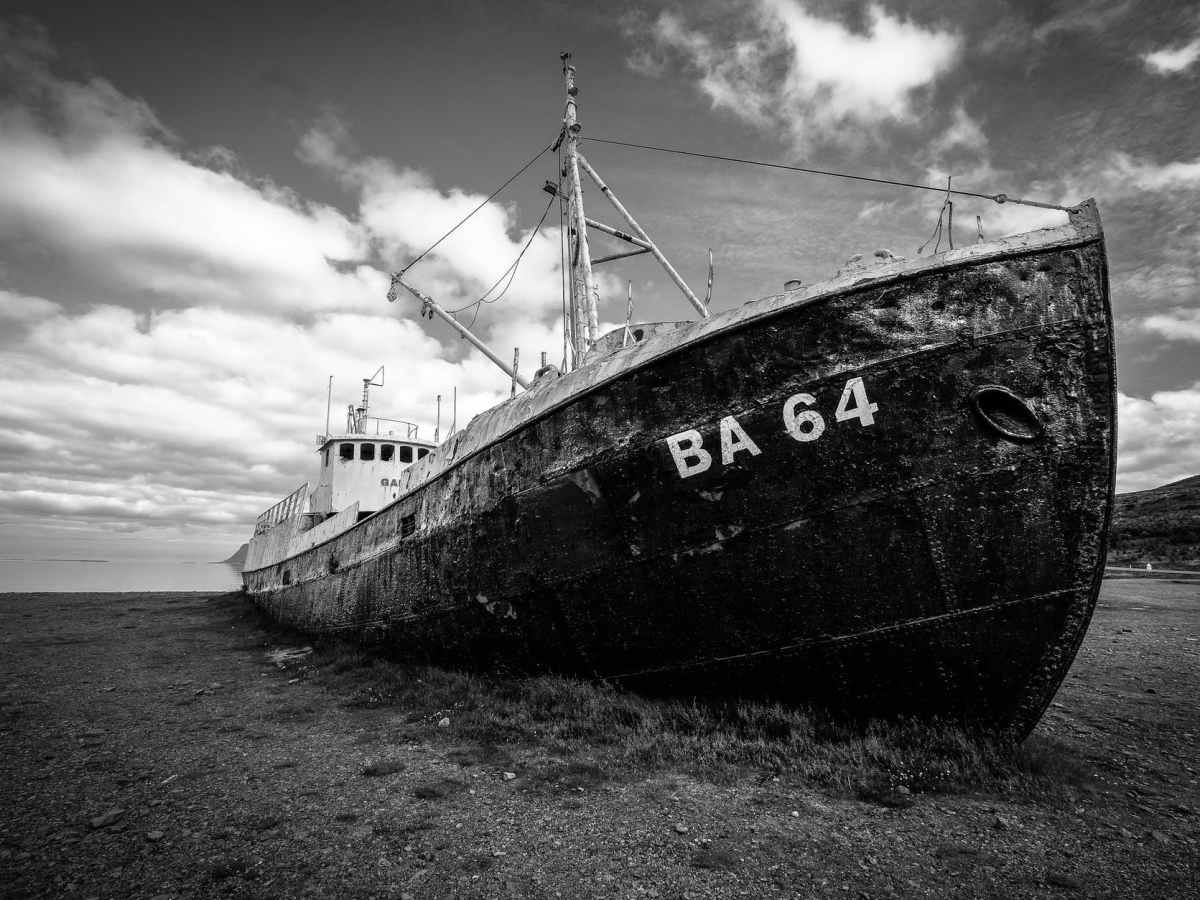 grayscale photography of abandoned cargo ship on field