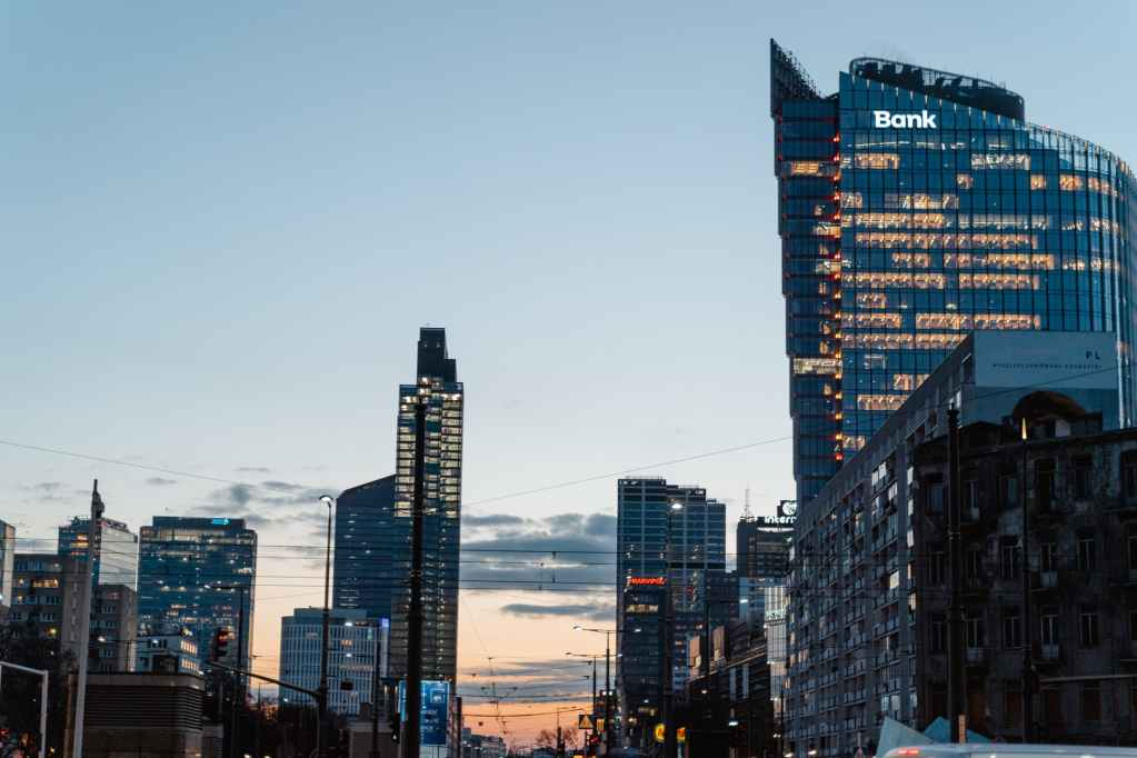 city buildings at dusk
