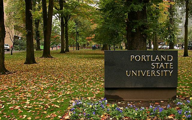 Sign at entry to Portland State University; Kelvin Kay