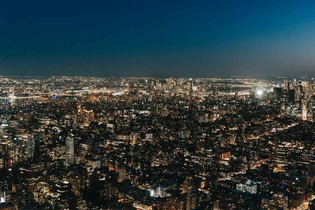 modern megapolis at night time