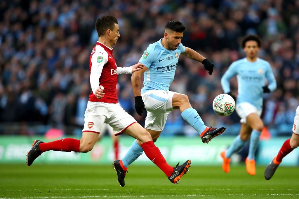 Image result for Man City thrash Arsenal 3-0 to lift trophy