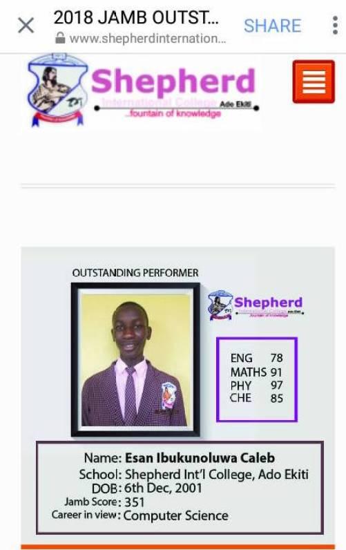 Image result for Education JAMB result: Shepherd International College student scores 351 in 2018 UTME