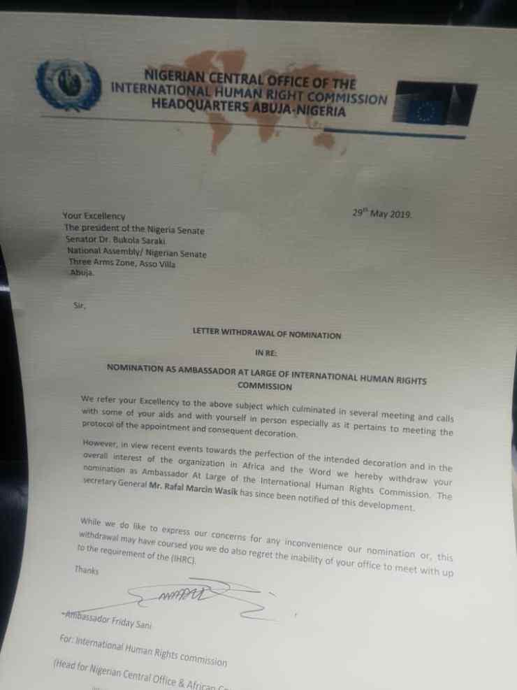 Saraki loses international appointment as Ambassador-at-large Saraki loses international appointment as Ambassador-at-large IMG 20190530 WA0000