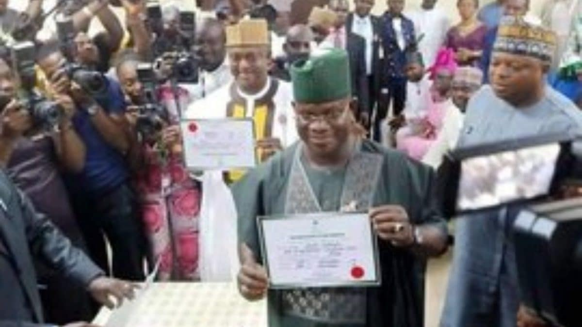 Inec Presents Certificate Of Return To Bello