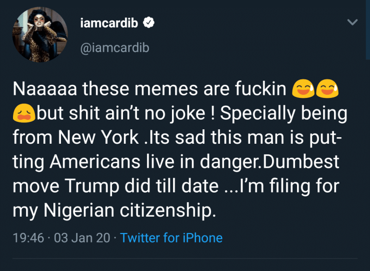 US vs Iran: I'm dumping America for Nigeria – Rap star, Cardi B blast Trump ngcb3