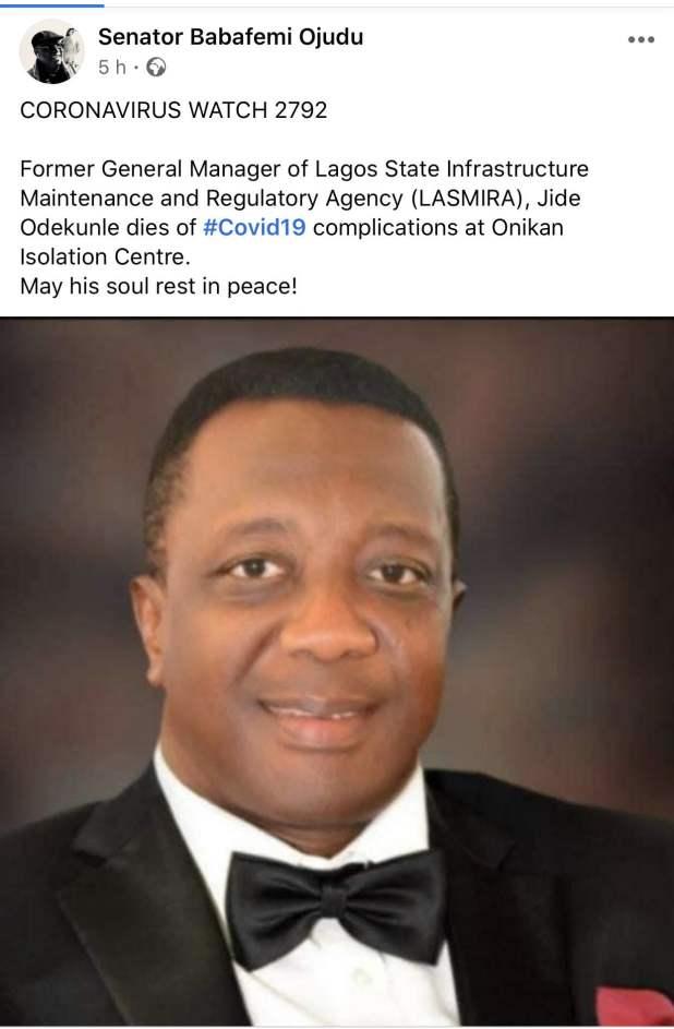 Jide Odekunle - Ex-LASIMRA boss, Jide Odekunle dies of COVID-19 in Lagos