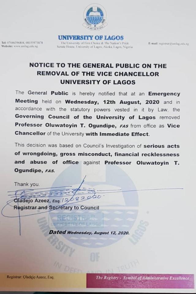 Statement by Registrar University of Lagos - UNILAG governing council sacks Vice Chancellor, Professor Toyin Ogundipe