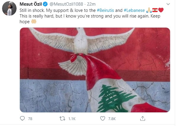 ozil - Arsenal midfielder, Mesut Ozil reacts to huge explosion in Beirut
