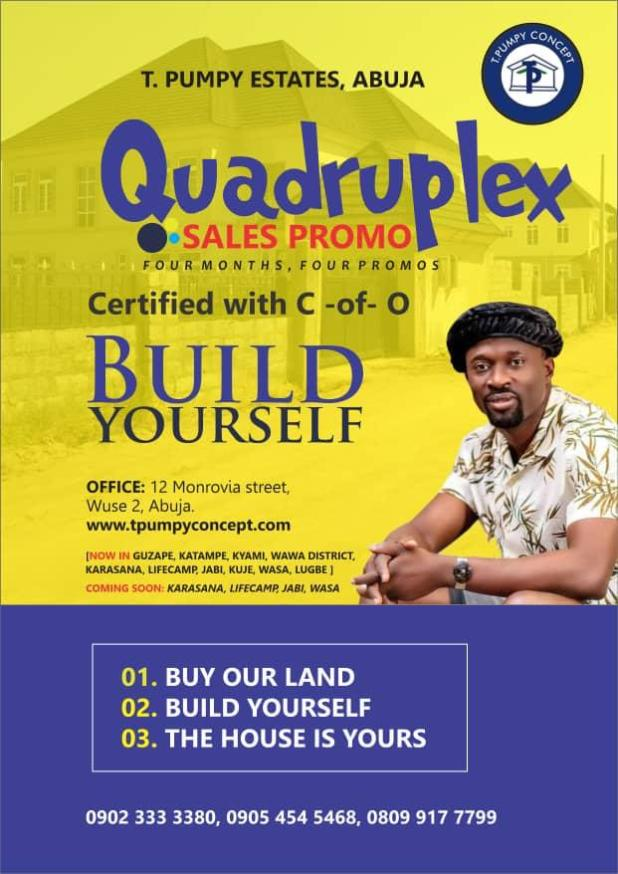 IMG 20200903 WA0008 - Quadruplex: T Pumpy announces children's estate in Abuja as plot of land with C-of-O goes for N399k