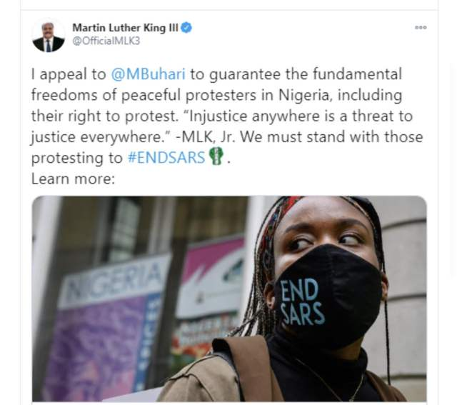OHAFIA-TV News | End SARS : Injustice anywhere is a threat to justice everywhere – Martin Luther King III