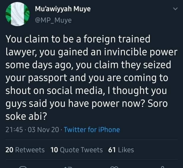 Screenshot 20201104 105229 Twitter - Seized passport: Governor's aide mocks Moe Odele, Nigerian End SARS advocate