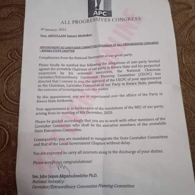 Fierce battle in Kwara APC over alleged removal of Bolarinwa as caretaker chairman