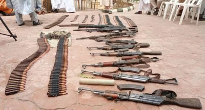 Zamfara: Son of late bandit leader surrenders 30 AK-47 rifles, 2 rocket launchers, others