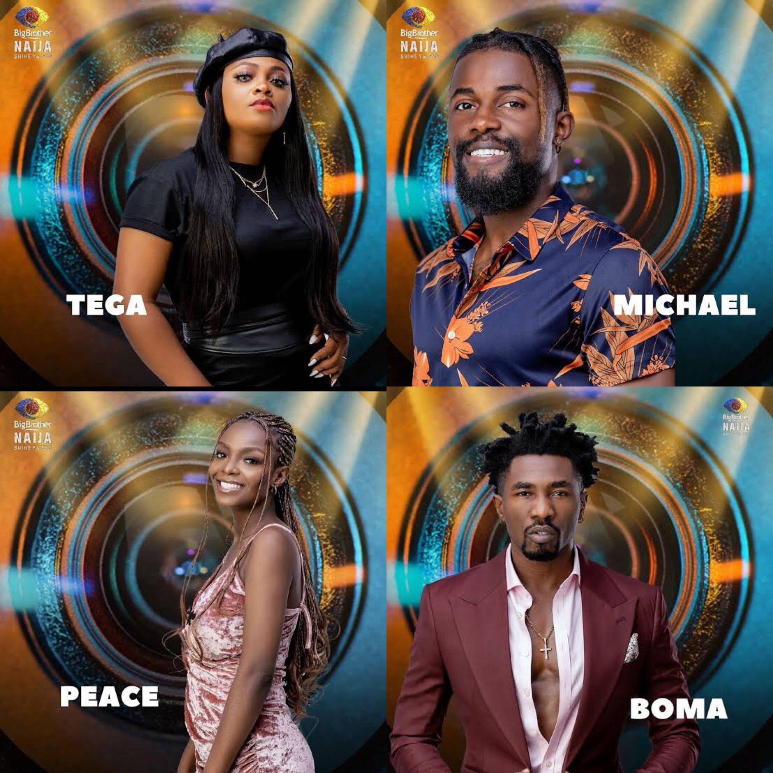 BBNaija: Boma, Tega, Michael, Peace pitch housemates to win grand prize