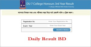 DU 7 College Honours 3rd Year Result