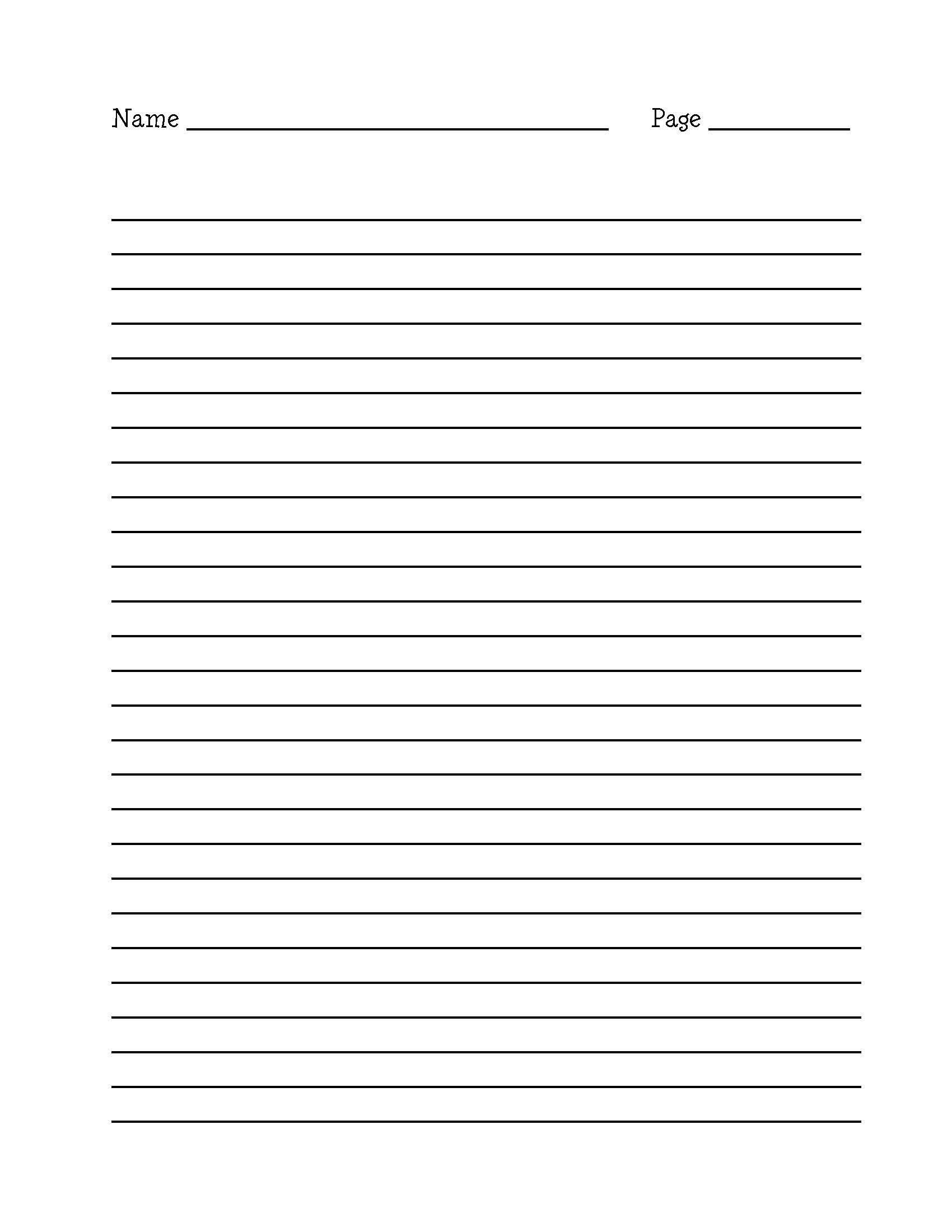 Lined Notebook Paper Template lined paper wide ruled on letter – Template Lined Paper
