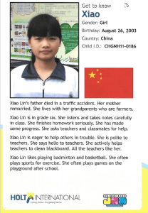 Xiao is one of many children in unfortunate situations that Holt International needs constant funding for. Virginia Beach, VA. December 2017. (Flyer provided by Winter Jam)