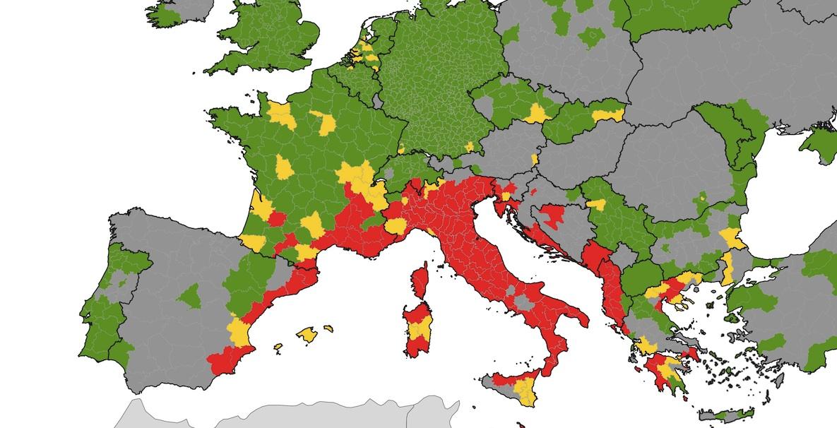Distribution du moustique tigre en Europe (janvier 2014) carte ECDC